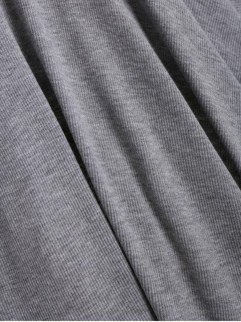 women's Knitting Half Button Fit and Flare Dress - GRAY ONE SIZE Mobile