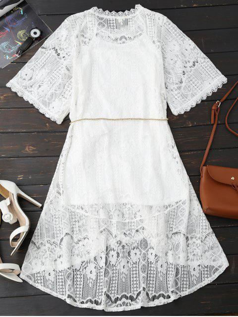 hot Rope Belt Lace Floral Dress With Tank Top - WHITE M Mobile