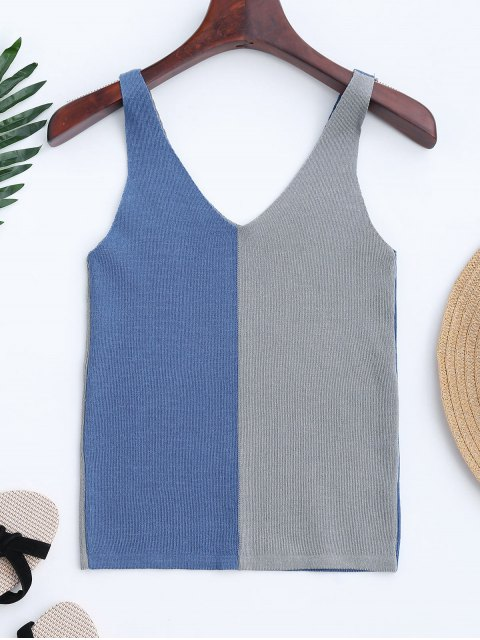 shops Knitting Two Tone Tank Top - BLUE ONE SIZE Mobile