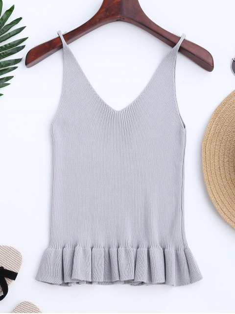latest Knitting Ruffles Ribbed Tank Top - GRAY ONE SIZE Mobile