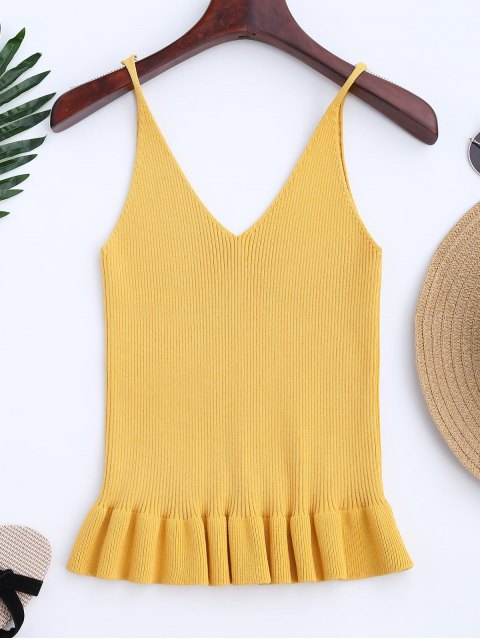 trendy Knitting Ruffles Ribbed Tank Top - YELLOW ONE SIZE Mobile