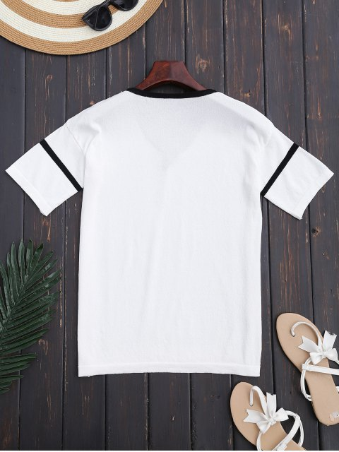 chic Color Block Criss Cross Knitting Top - WHITE ONE SIZE Mobile