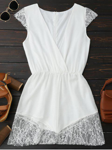 Lace Panel Plunge Sleeveless Chiffon Spielanzug - Weiß S Mobile