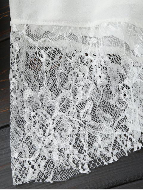 Combishorts en mousseline de soie col plongeant panneau en dentelle sans manche - Blanc XL Mobile