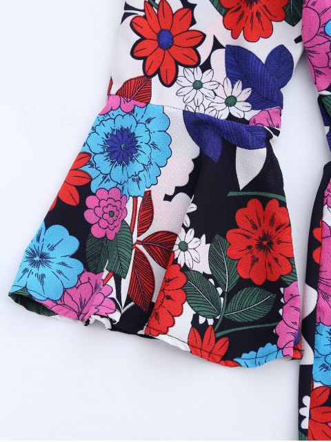 chic Flare Sleeve Floral Off The Shoulder Romper - FLORAL S Mobile