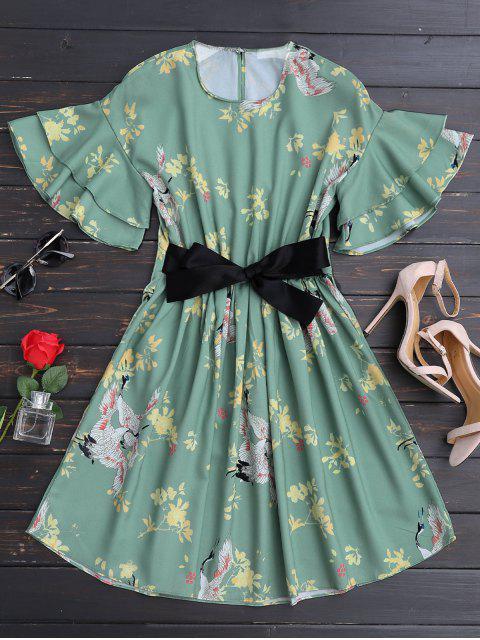 Rüschen Gürtel Blumen A-Linie Kleid - Blumen L Mobile