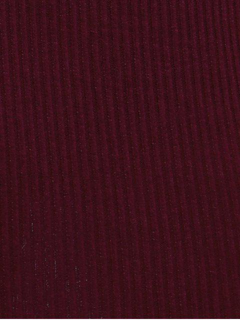 Robe moulante dénudée manches longues - Rouge vineux  S Mobile