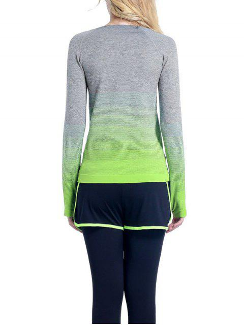 lady Ombre Yoga Gym T-Shirt - GREEN M Mobile