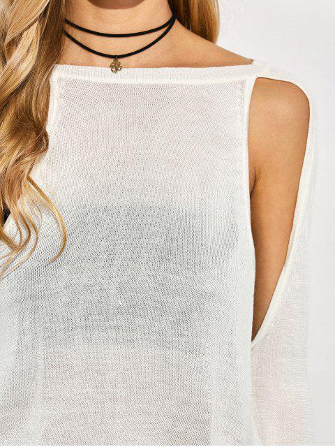 women's Crew Neck Cut Out Sweater - WHITE XL Mobile