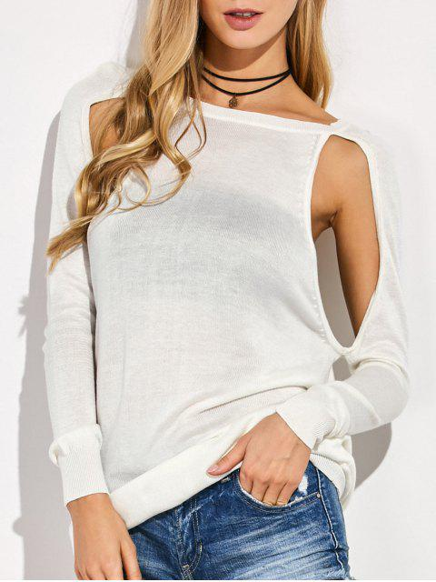 lady Crew Neck Cut Out Sweater - WHITE M Mobile