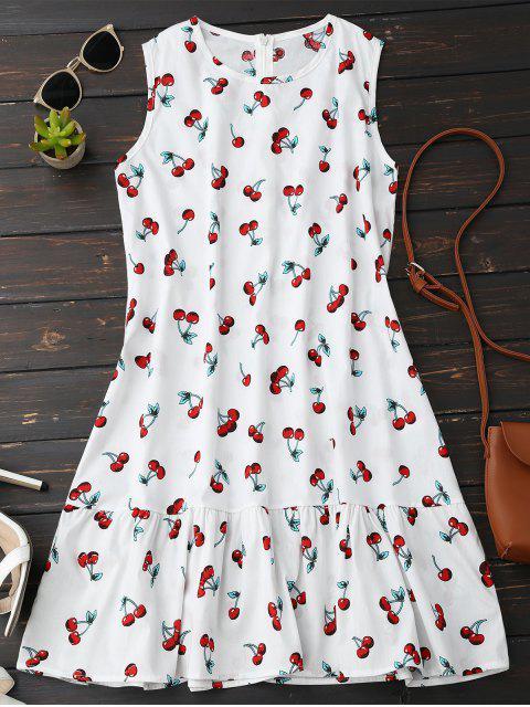 chic Sleeveless Cherry Ruffle Dress - WHITE S Mobile