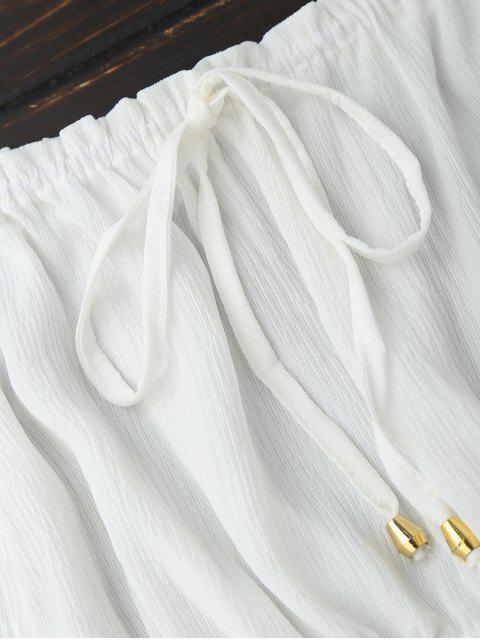 Blusa Recortada de Hombros al Aire con Panel de Malla - Blanco M Mobile