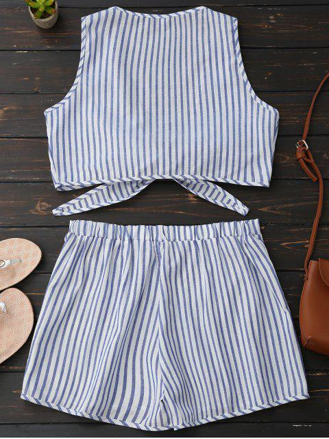 sale Plunge Striped Front Tied Top with Shorts - BLUE STRIPE XL Mobile