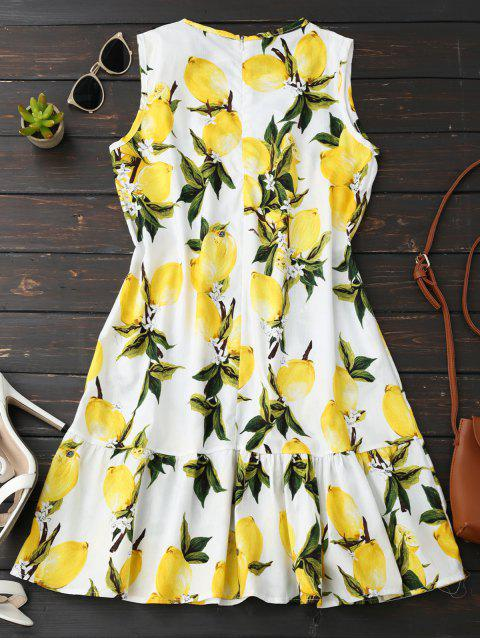fashion Sleeveless Lemon Ruffle Dress - YELLOW XL Mobile