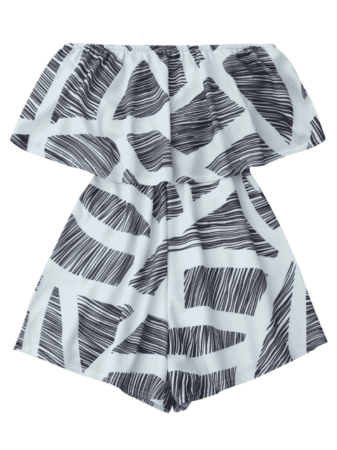 outfit Strapless Geometric Pattern Romper - WHITE XL Mobile