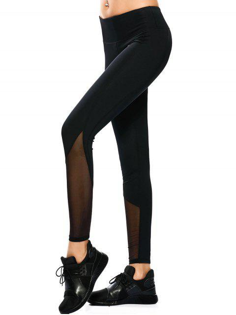 lady Mesh Panel Skinny Yoga Leggings - BLACK XL Mobile