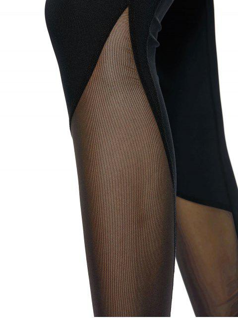 online Mesh Panel Skinny Yoga Leggings - BLACK M Mobile