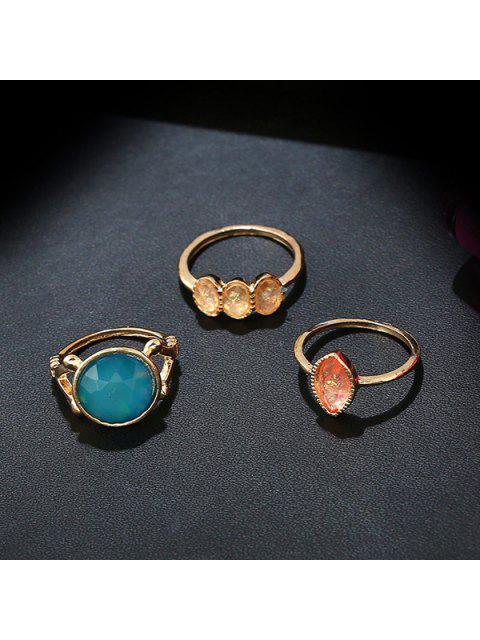 women's Artificial Gemstone Geometric Ring Set - GOLDEN  Mobile