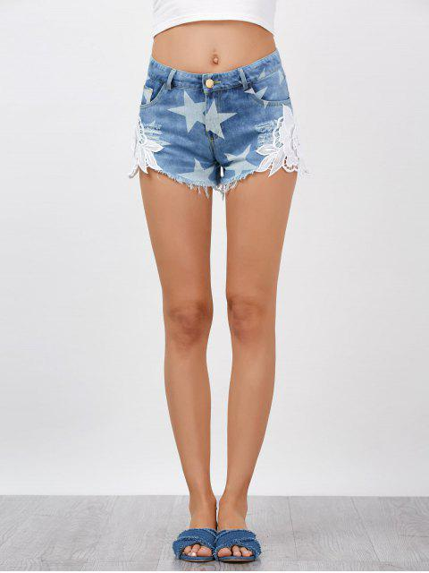 Lace Embellished Star Cut Off Jean Shorts - Denim Bleu 2XL Mobile