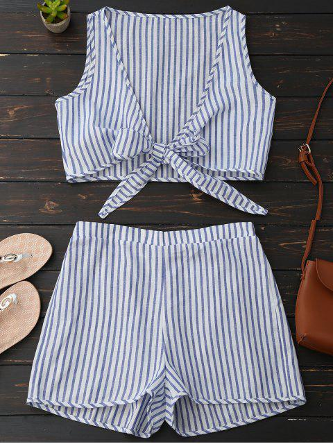 unique Plunge Striped Front Tied Top with Shorts - BLUE STRIPE L Mobile