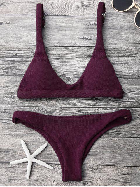 women Low Waisted Padded Scoop Bikini Set - MERLOT S Mobile