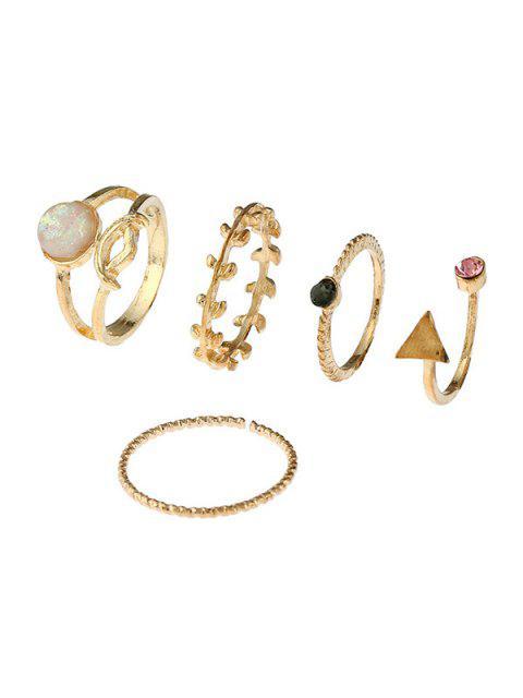 ladies Alloy Faux Gem Triangle Leaf Ring Set - GOLDEN  Mobile