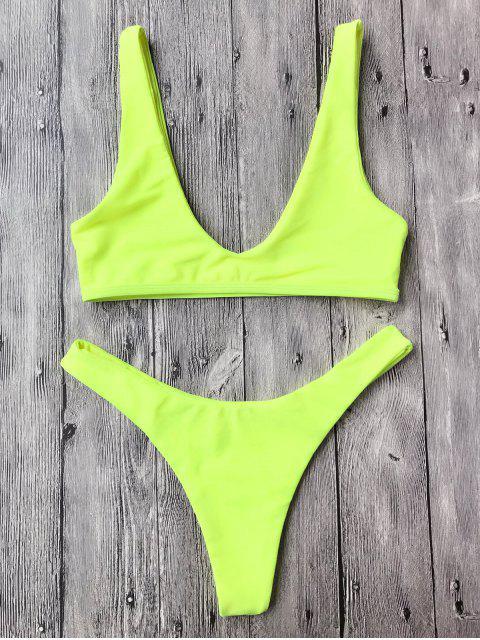 Traje de Bikini con Escote en U con Tiro Alto - Neón Amarillo M Mobile