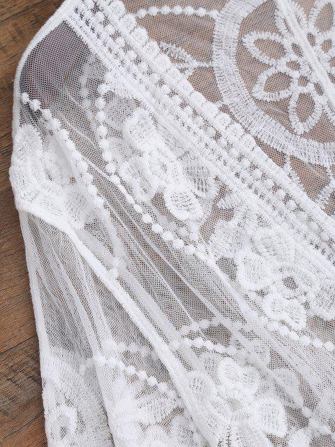 outfit Sheer Lace Tie Front Kimono Cover Up - WHITE ONE SIZE Mobile