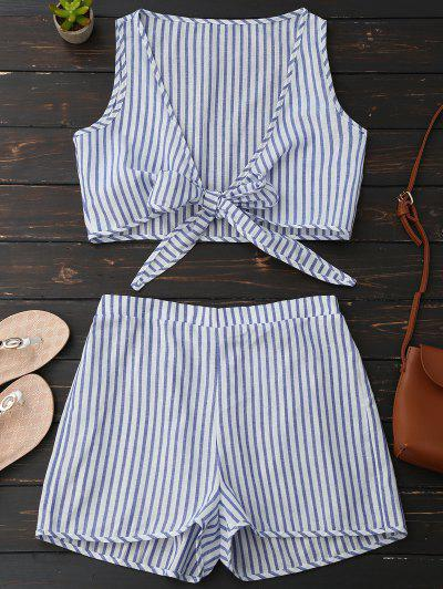 Plunge Striped Front Tied Top With Shorts - Blue Stripe S