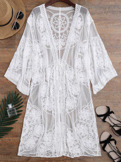 Sheer Lace Tie Front Kimono Cover Up - White