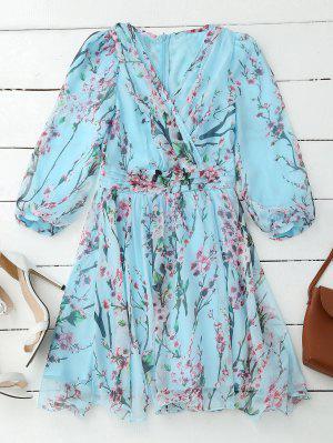 Floral Surplice Flowy Dress - Rosáceo Azul M