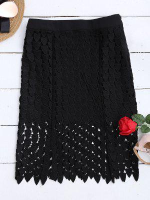 Falda Recortada De Encaje - Negro S