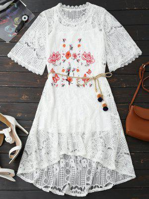 Rope Belt Lace Floral Dress With Tank Top - White S