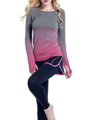 Ombre Yoga Gimnasio De La Camiseta - Rosa Roja S