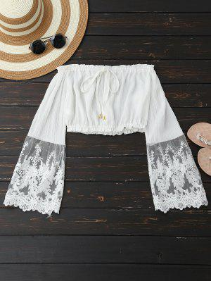 Mesh Panel Off Shoulder Cropped Blouse