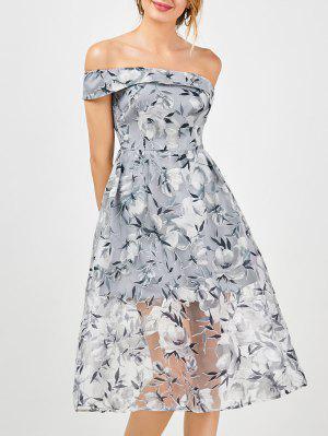 Off The Shoulder Floral Tea Length 50s Dress - Smoky Gray M