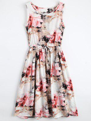 Midi Sleeveless Drawstring Floral Dress - Floral L