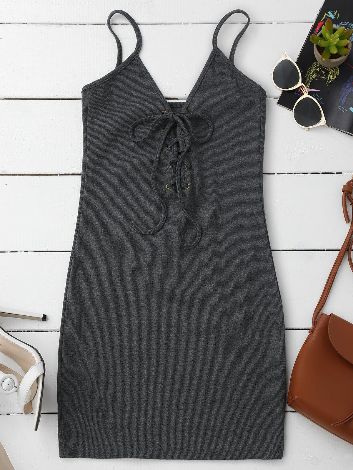 Lace Up Cami Knit Bodycon Dress 212257702