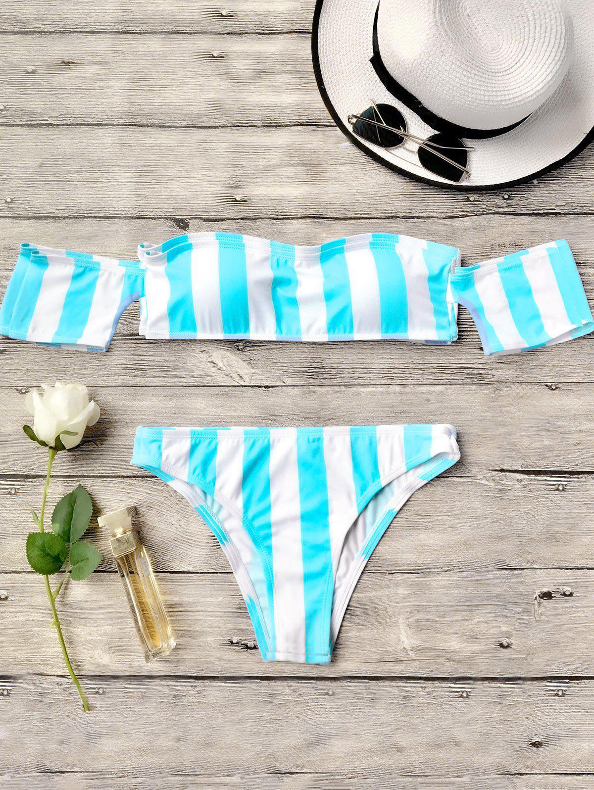 Striped Off The Shoulder Bikini Set 212727904