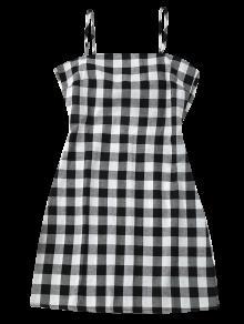 2018 slip tie back plaid dress in black white s zaful