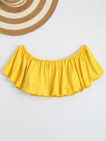 Off Shoulder Ruffle Cropped Top - Yellow M