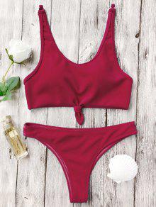 Juego De Bikini Alto Nudo De Bralette - Rojo M