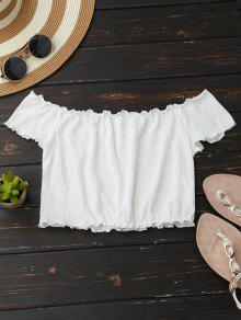 Off Shoulder Crushed Cropped Top - White S