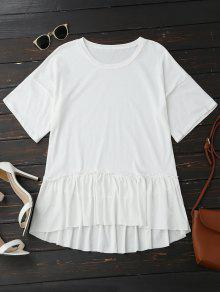 Short Sleeve Ruffle Hem T-Shirt - White