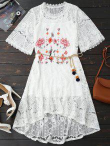 حبل حزام الدانتيل فستان زهري مع تانك الأعلى - أبيض M