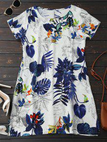 Vestido De Blusa Do Linho Com Folha Impressa - Azul Escuro M