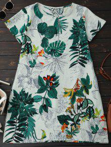 فستان طباعة الأوراق كتاني فضفاض - أخضر Xl