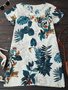 Leaf Print Linen Smock Dress - Peacock Blue Xl