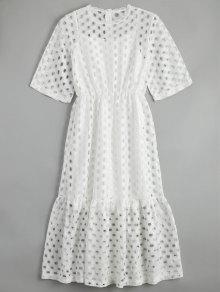 فستان قطع كشكش مع توب سترة ميدي - أبيض M
