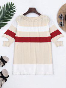 Knitting Color Block Split Sleeve Top - White
